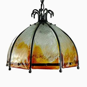 Mid-Century Brutalist Wrought Iron and Murano Glass Ceiling Lamp
