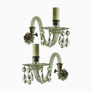 Antique Cut Glass Sconces, Set of 2