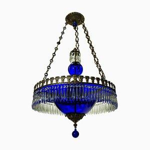 Blauer Vintage Kronleuchter aus Glas