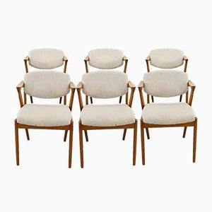 Mid-Century Teak Model 42 Dining Chairs by Kai Kristiansen for SVA Møbler, Denmark, Set of 6