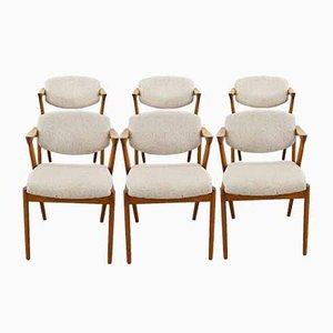 Mid-Century Teak Modell 42 Esszimmerstühle von Kai Kristiansen für SVA Møbler, Dänemark, 6er Set