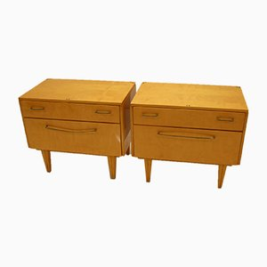 Vintage Bedside Tables with Drawer and Flap, 1966, Set of 2
