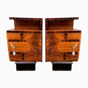 Italian Art Deco Rosewood Nightstands, 1930s, Set of 2