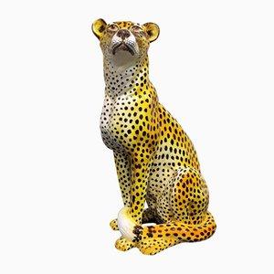 Italian Glazed Terracotta Leopard Figure, 1960s