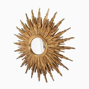 Large Gilded Convex Sun Mirror from Deknudt, 1960s