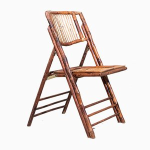 Italian Bamboo Folding Chairs, 1970s, Set of 4