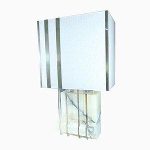 Mid-Century Marble, Plexiglass & Brass Table Lamp