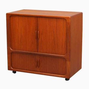 Danish Teak Highboard for TV and Hi-Fi with Sliding Doors from Dyrlund, 1970s