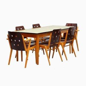 Chaises Empilables Modèle Maestro et Table de Salle à Manger par Franz Schuster, 1950s, Set de 7