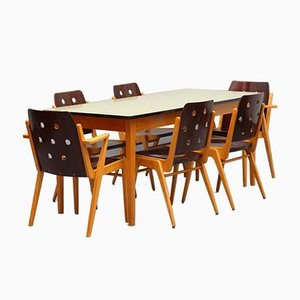 Model Maestro Stacking Chairs & Dining Table by Franz Schuster, 1950s, Set of 7