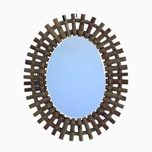 Mid-Century Wicker Mirror