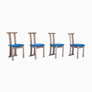 Chaises de Salon Vintage en Bois et Tissu, 1960s, Set de 4