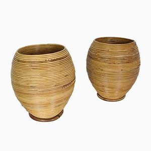 Mid-Century Bamboo Vases, Set of 2