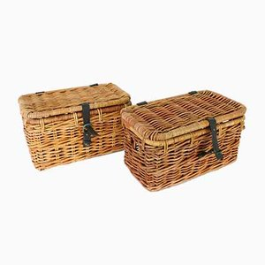 Mid-Century Bamboo Baskets, Set of 2