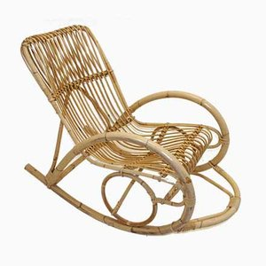 Vintage Rattan Rocking Chair by Rohé Noordwolde, 1966
