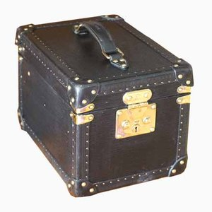 Black Leather Train Case by Louis Vuitton, 1980s