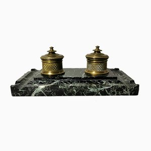 French Napoleon III Bronze and Marble Inkwell, 1848