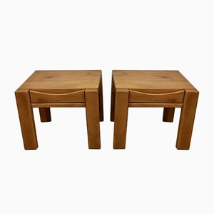 French Elm Nightstands from Maison Regain, 1970s, Set of 2