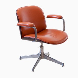 Cognac Leather Swivel Chair by Ico Luisa Parisi for MIM, 1950s