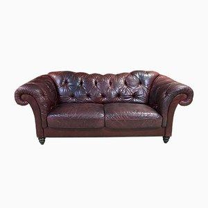 Großes Leder Chesterfield Sofa, 1970er