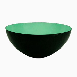 Large Vintage Danish Modern Metal Green Enamel Krenit Bowl by Herbert Krenchel for Torben Ørskov, 1950s