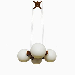 Walnut Chandelier from Temde, 1960s