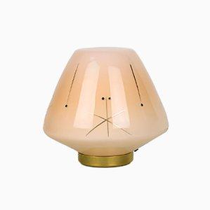 Mid-Century Tischlampe aus Glas & Messing