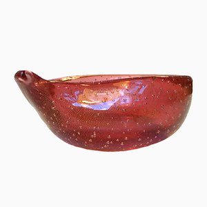 Pink Murano Ashtray with Gold Dust from Seguso, 1950s
