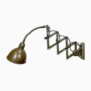 Industrial Green Scissor Wall Lamp from Elektroinstala, 1960s