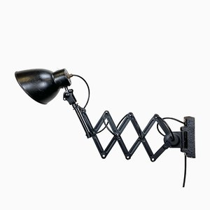Vintage Industrial Black Scissor Wall Lamp, 1950s