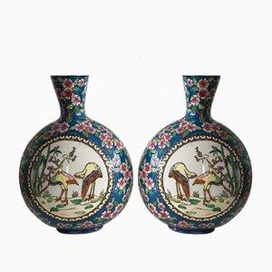 Emaillierte Vasen von La Louviere, 1950er, 2er Set