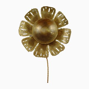 Brass Flower Plate Sconce in the Style of Svend Aage Holm Sørensen for Holm Sørensen & Co, Denmark, 1970s