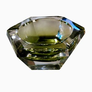 Hexagonal Ashtray in Green Shaded Glass by Val Saint Lambert, 1962