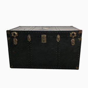 Large Antique American Trunk with French Travel Labels from Trunk Co