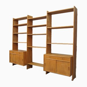 Scandinavian Oak Modular Wall Unit, 1960s