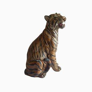 Escultura de tigre vintage, años 60