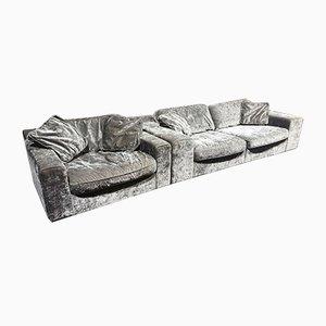 Bespoke Italian Velvet Sofa & Armchair, 2000s, Set of 2