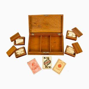 Boîte Vintage en Bois avec Jeux de Cartes, 1930s