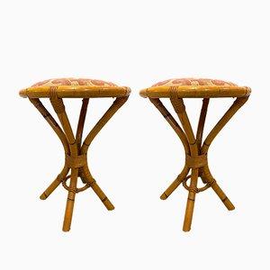 Sgabelli vintage in bambù, anni '70, set di 2