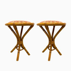 Vintage Bamboo Stools, 1970s, Set of 2