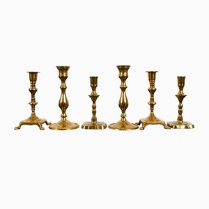 19th Century Brass Candleholders, Set of 6