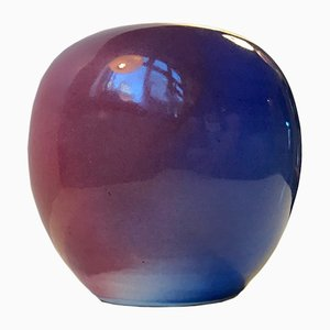 Danish Ceramic Rainbow Glaze Ball Vase by Aage Würtz, 1970s