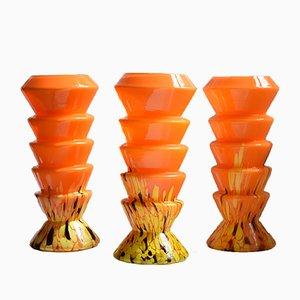 Vases Art Déco Orange en Verre par Kralik, République Tchèque, 1930s, Set de 3