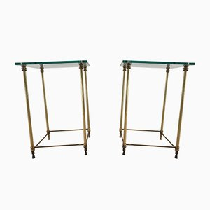 French Regency Style Brass and Glass Sofa Tables, 1960s, Set of 2