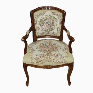 Mid-Century Baroque or Chippendale Style Upholstered Gobelin Armchair, 1960s
