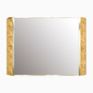 Italian Bamboo and Brass Mirror by Dal Vera, 1970s