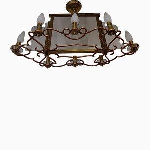 Lampada da soffitto grande Art Déco in ottone, rame e rame, anni '40