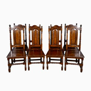 Antique English Oak Dining Chairs, Set of 8