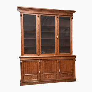 Antique Arts and Crafts English Carved Oak Library Bookcase