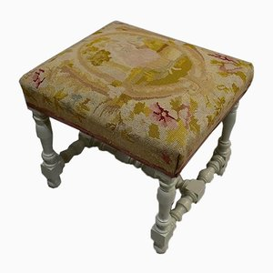 18th Century Louis XIV Style Canvas and Wood Stool